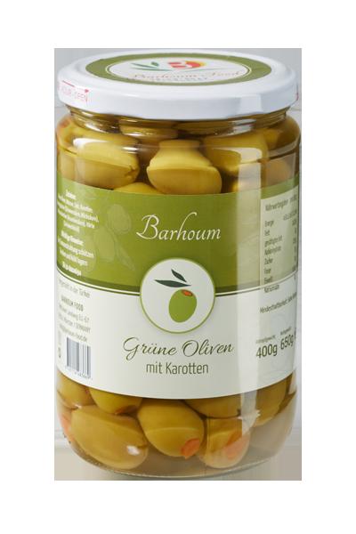 Barhoum Food - Grüne Oliven mit Karotten im Glas