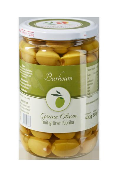 Barhoum Food - Grüne Oliven mit grüner Paprika