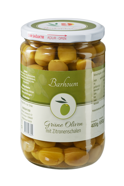 Barhoum Food - Grüne Oliven mit Zitronenschale