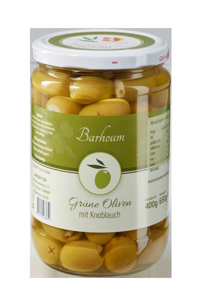 Barhoum Food - Grüne Oliven mit Knoblauch