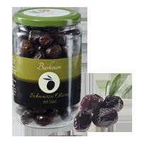 Schwarze vollreife Oliven mit Stein