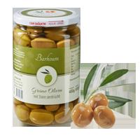 Grüne Oliven mit Stein, zerdrückt