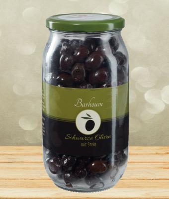 Barhoum Schwarze Oliven mit Stein 700g