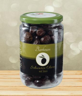 Barhoum Schwarze Oliven mit Stein 400g